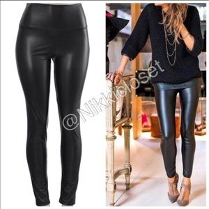 2cf92585957f7 Last Black high waist faux leather leggings LiNED